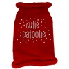 Mirage Pet Products Cutie Patootie Rhinestone Knit Pet Sweater LG Red