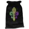 Mirage Pet Products Mardi Gras Fleur De Lis Rhinestone Knit Pet Sweater SM Black