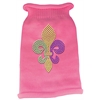 Mirage Pet Products Mardi Gras Fleur De Lis Rhinestone Knit Pet Sweater XL Pink