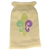 Mirage Pet Products Mardi Gras Fleur De Lis Rhinestone Knit Pet Sweater LG Cream