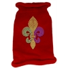 Mirage Pet Products Mardi Gras Fleur De Lis Rhinestone Knit Pet Sweater SM Red