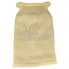Mirage Pet Products Rich Bitch Rhinestone Knit Pet Sweater MD Cream