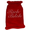 Mirage Pet Products Rich Bitch Rhinestone Knit Pet Sweater SM Red