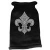 Mirage Pet Products Silver Fleur de lis Rhinestone Knit Pet Sweater MD Black