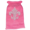Mirage Pet Products Silver Fleur de lis Rhinestone Knit Pet Sweater LG Pink