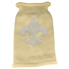 Mirage Pet Products Silver Fleur de lis Rhinestone Knit Pet Sweater MD Cream