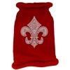 Mirage Pet Products Silver Fleur de lis Rhinestone Knit Pet Sweater MD Red
