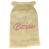 Mirage Pet Products Step Aside Barbie Rhinestone Knit Pet Sweater MD Cream