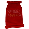 Mirage Pet Products Trouble Maker Rhinestone Knit Pet Sweater MD Red