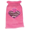 Mirage Pet Products Zebra Heart Rhinestone Knit Pet Sweater MD Pink