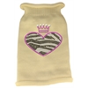 Mirage Pet Products Zebra Heart Rhinestone Knit Pet Sweater LG Cream