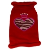 Mirage Pet Products Zebra Heart Rhinestone Knit Pet Sweater LG Red