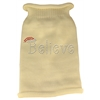 Mirage Pet Products Believe Rhinestone Knit Pet Sweater LG Cream