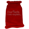 Mirage Pet Products Dear Santa I Can Explain Rhinestone Knit Pet Sweater MD Red