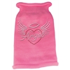 Mirage Pet Products Angel Heart Rhinestone Knit Pet Sweater MD Pink