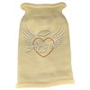 Mirage Pet Products Angel Heart Rhinestone Knit Pet Sweater LG Cream