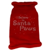 Mirage Pet Products I Believe in Santa Paws Rhinestone Knit Pet Sweater SM Red