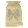 Mirage Pet Products Bow Rhinestone Knit Pet Sweater LG Cream