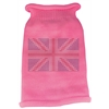 Mirage Pet Products British Flag Rhinestone Knit Pet Sweater LG Pink