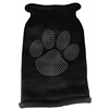 Mirage Pet Products Clear Rhinestone Paw Knit Pet Sweater LG Black