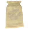 Mirage Pet Products Clear Rhinestone Paw Knit Pet Sweater LG Cream