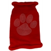 Mirage Pet Products Clear Rhinestone Paw Knit Pet Sweater LG Red