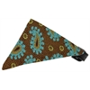 Mirage Pet Products Brown and Blue Pretty Paisley Bandana Pet Collar Black Size 14