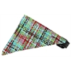 Mirage Pet Products Aqua Party Plaid Bandana Pet Collar Black Size 16