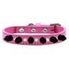 Mirage Pet Products Crystal and Black Spikes Dog Collar Bright Pink Size 12