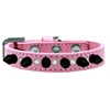 Mirage Pet Products Crystal and Black Spikes Dog Collar Light Pink Size 14