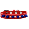 Mirage Pet Products Crystal and Blue Spikes Dog Collar Red Size 10