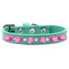 Mirage Pet Products Crystal and Bright Pink Spikes Dog Collar Aqua Size 14