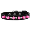 Mirage Pet Products Crystal and Bright Pink Spikes Dog Collar Black Size 16