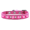 Mirage Pet Products Crystal and Bright Pink Spikes Dog Collar Bright Pink Size 14