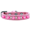 Mirage Pet Products Crystal and Bright Pink Spikes Dog Collar Light Pink Size 14
