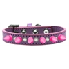 Mirage Pet Products Crystal and Bright Pink Spikes Dog Collar Lavender Size 14