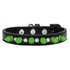 Mirage Pet Products Crystal and Neon Green Spikes Dog Collar Black Size 16