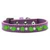 Mirage Pet Products Crystal and Neon Green Spikes Dog Collar Lavender Size 14