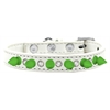Mirage Pet Products Crystal and Neon Green Spikes Dog Collar White Size 14