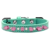 Mirage Pet Products Crystal and Light Pink Spikes Dog Collar Aqua Size 16