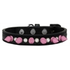 Mirage Pet Products Crystal and Light Pink Spikes Dog Collar Black Size 16