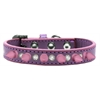 Mirage Pet Products Crystal and Light Pink Spikes Dog Collar Lavender Size 14