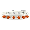 Mirage Pet Products Crystal and Neon Orange Spikes Dog Collar White Size 16