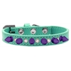 Mirage Pet Products Crystal and Purple Spikes Dog Collar Aqua Size 16