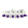 Mirage Pet Products Crystal and Purple Spikes Dog Collar White Size 16