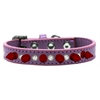 Mirage Pet Products Crystal and Red Spikes Dog Collar Lavender Size 16