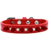 Mirage Pet Products Crystal and Red Spikes Dog Collar Red Size 10