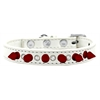Mirage Pet Products Crystal and Red Spikes Dog Collar White Size 16