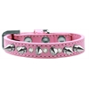 Mirage Pet Products Crystal and Silver Spikes Dog Collar Light Pink Size 14