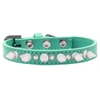 Mirage Pet Products Crystal and White Spikes Dog Collar Aqua Size 16